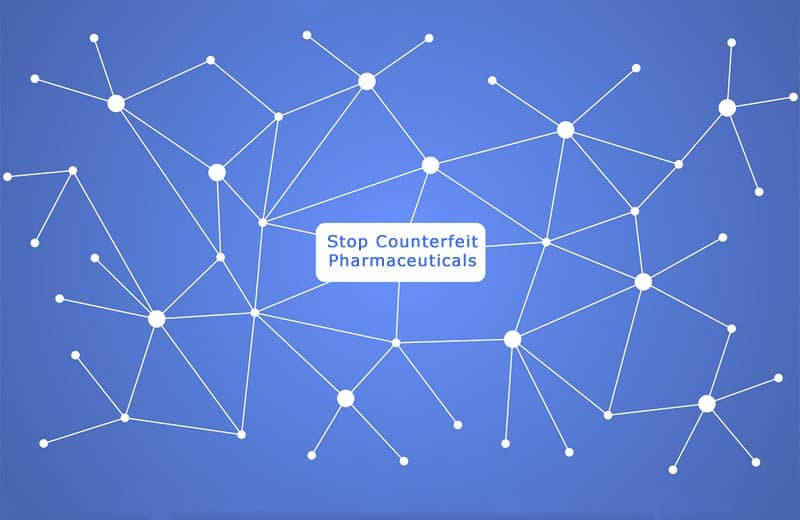 counterfeit pharmaceuticals and blockchain. Image by mmi9 from Pixabay
