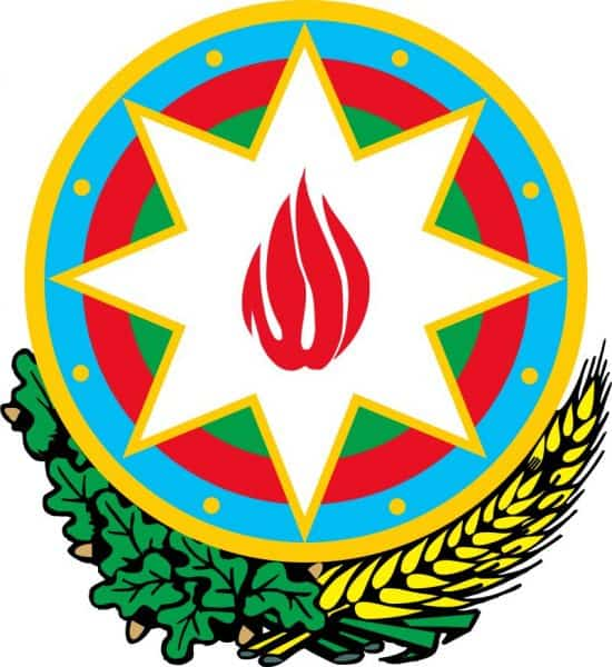Azerbaijan national emblem-a country between east and west