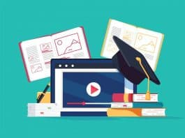 online tutoring concept. e books internet courses process.
