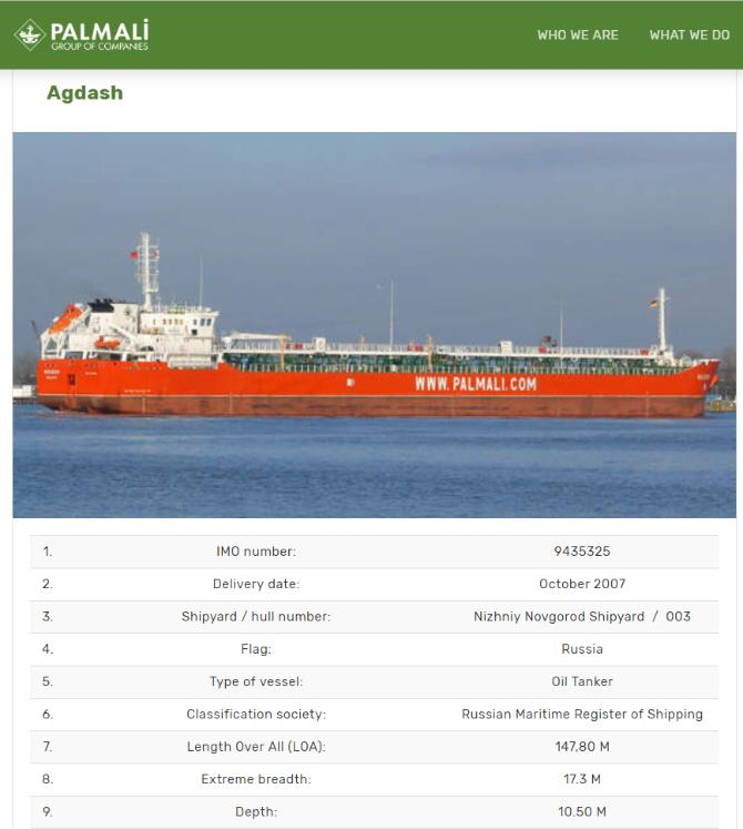 AGDASH russia flag tanker 9435325