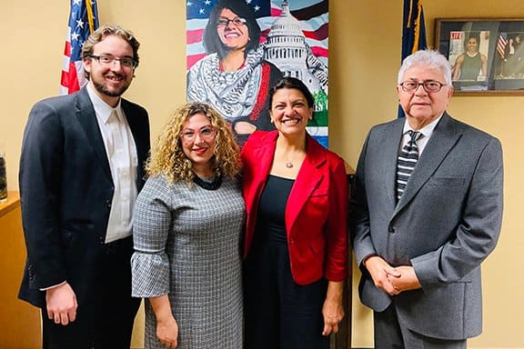 Rashida Tlaib-D-MI, [2nd from right] Armenian National Committee of Michigan representatives. From left to right-Raffi Vandevelde, Lara Nercessian, Representative Tlaib and Nishan Apigian