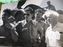 Modi Alon in center with David Ben Gurion right of photo-Photo credit the Israel Air-Force Foundation