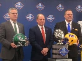 2019 Quick lane Bowl coaches, Photo: Chris Creighton, Eastern Michigan head coach, John Hanighen of the Quick Lane Bowl and Pat Narduzzi, Pitt head coach. Photo: Lars Hjelmroth, Rolco Sports