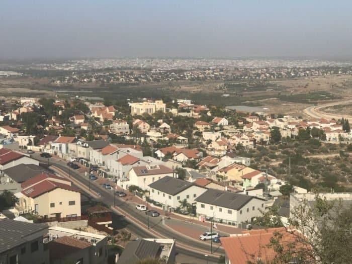 Northern Shomron, nearest Israeli community Tzofim, Arab village Tira, in the center, the farthest, Israel town Kochav Yair, the farthest, Mediterranean Sea - Photo Nurit Greenger
