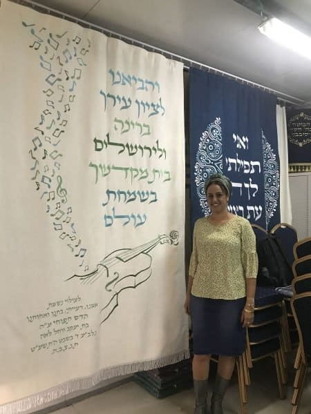 Ortal and her Holy Ark curtain - photo Nurit Greenger