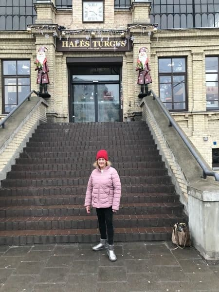 I am standing in front of Vilnius Hales Market-could be where my grandparents shopped - Photo credit Nurit Greenger