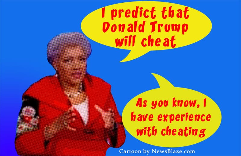 donna brazile has experience with cheating. Cartoon by NewsBlaze.