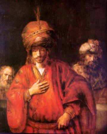 Haman Agagite, purim, painting by Rembrandt, public domain.
