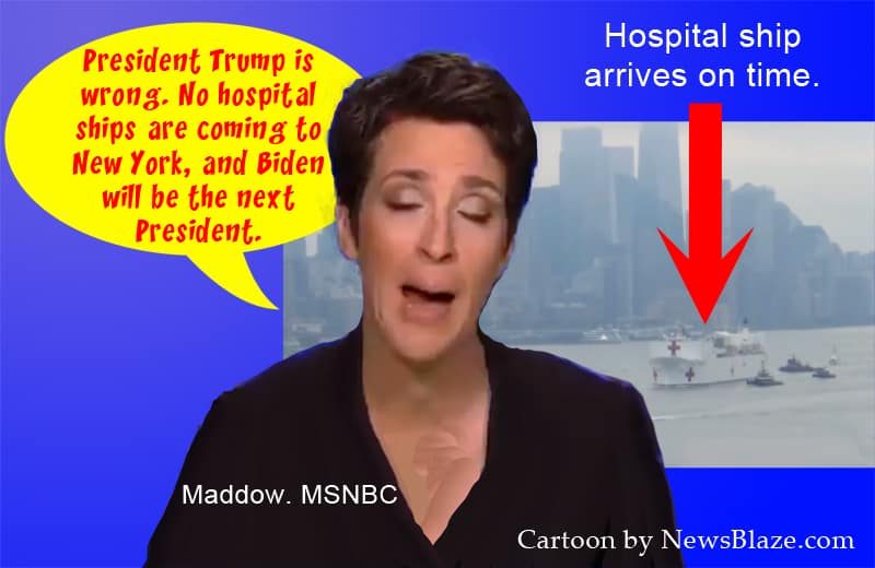 msnbc says hospital ship will not arrive in New York