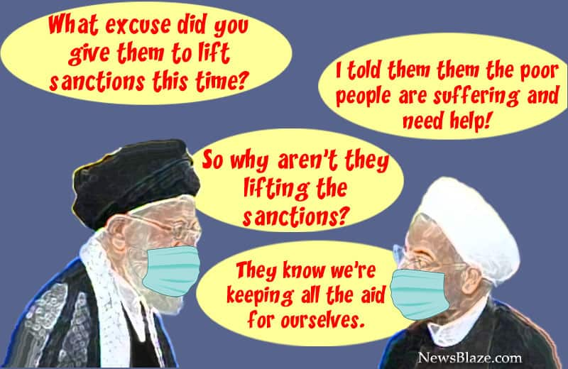 khamenei rouhani sanctions relief for COVID. Cartoon by NewsBlaze.
