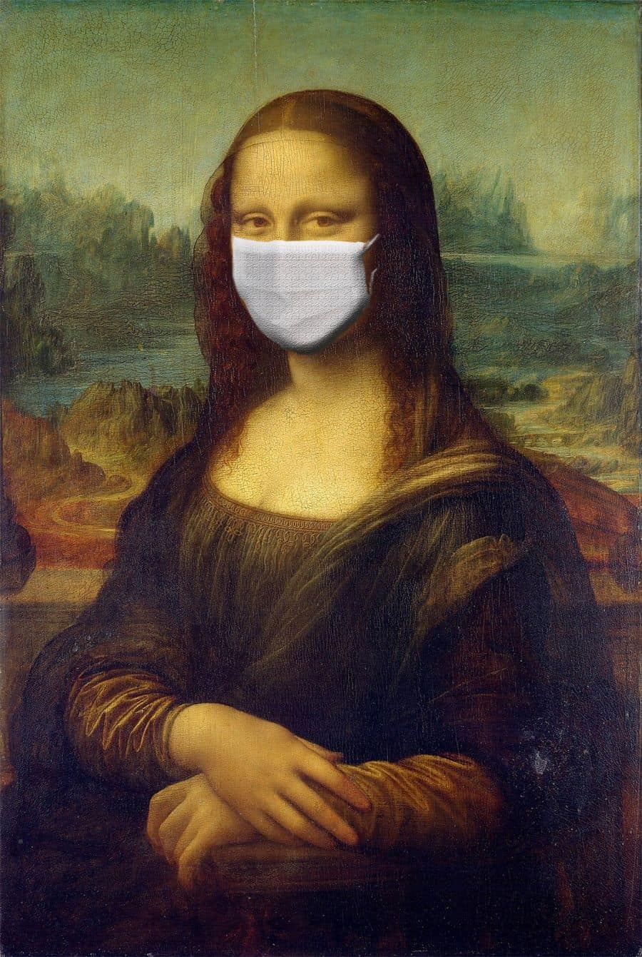 mona lisa with face mask. Image by Sumanley xulx from Pixabay