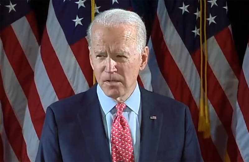 joe biden hunkering down. image from youtube video.
