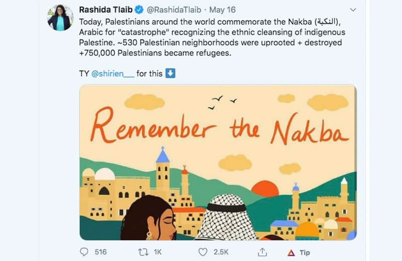 "Tlaib ""Nakba"" lie illustration in her Tweet. twitter screenshot."