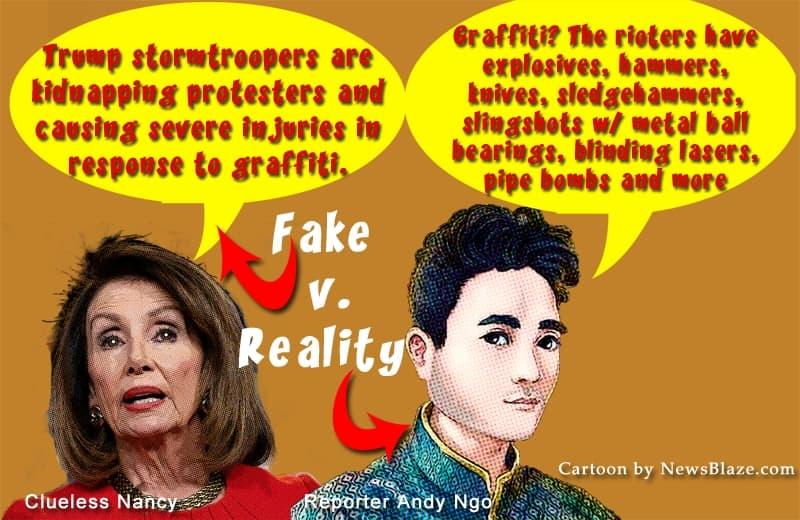 Nancy Pelosi v. Andy Ngo, cartoon by NewsBlaze.