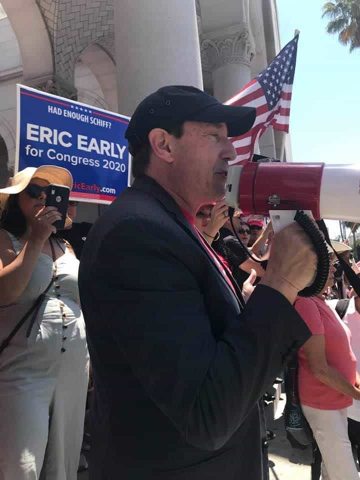 Eric Early in a rally among American patriots, downtown Los Angeles, California - photo Nurit Greenger