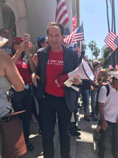 Eric Early in a patriotic rally in downtown Los Angeles, California - photo Nurit Greenger