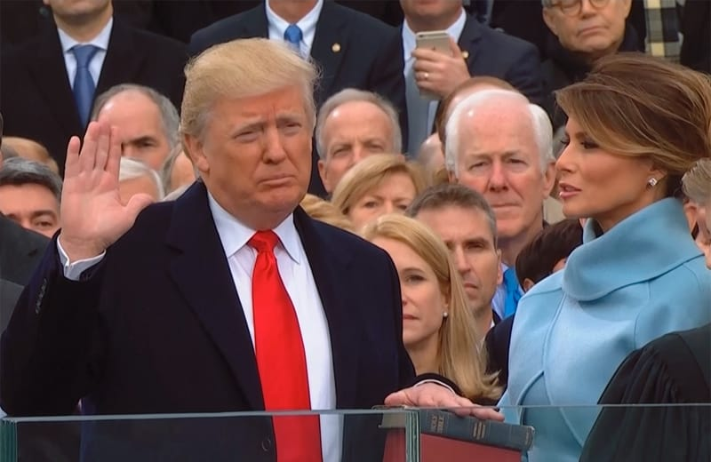 President Donald J Trump swearing in ceremony 2016 image: youtube screenshot.