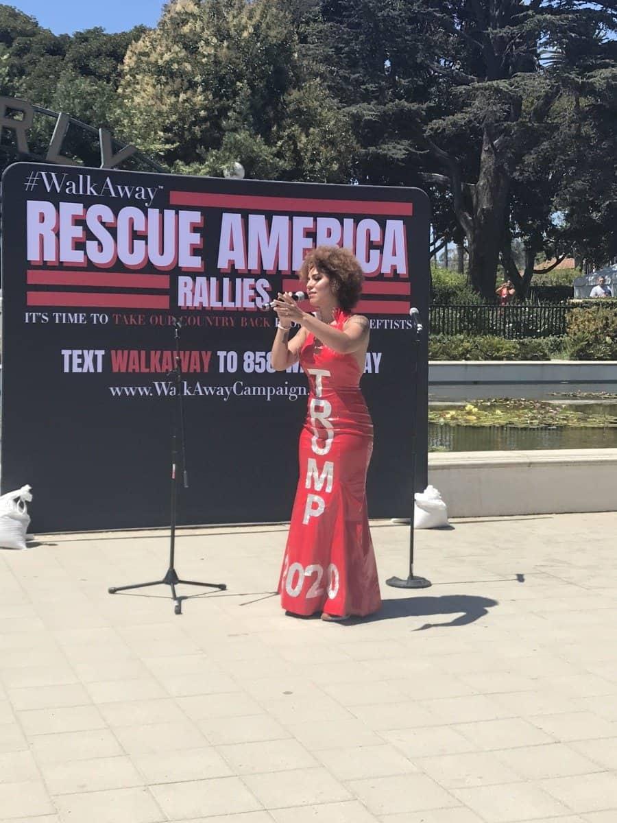 Rescue America rally, Joy Villa speaks - Photo credit Nurit Greenger