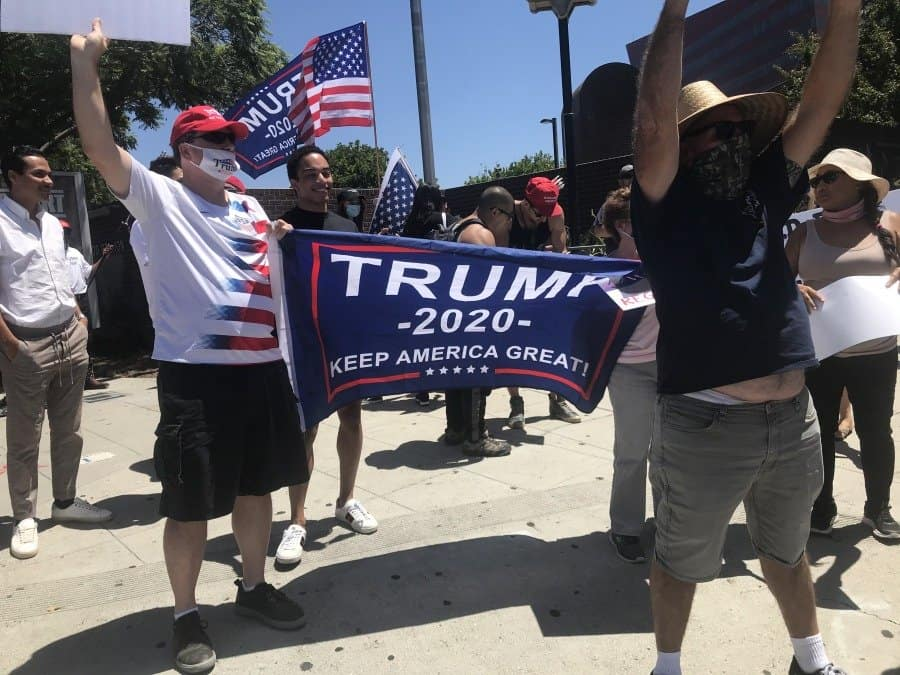 Placard that says it all-TRUMP 2020 - Photo credit Nurt Greenger