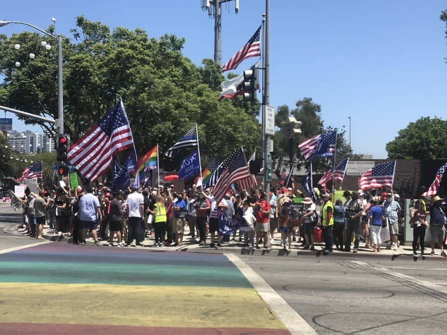 The rally crowd on the corner of Santa Monica Blvd and San Vicente - photo credit Nurit Greenger