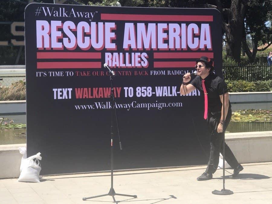 Rescue America rally, Brandon Straka speaks - Photo credit Nurit Greenger