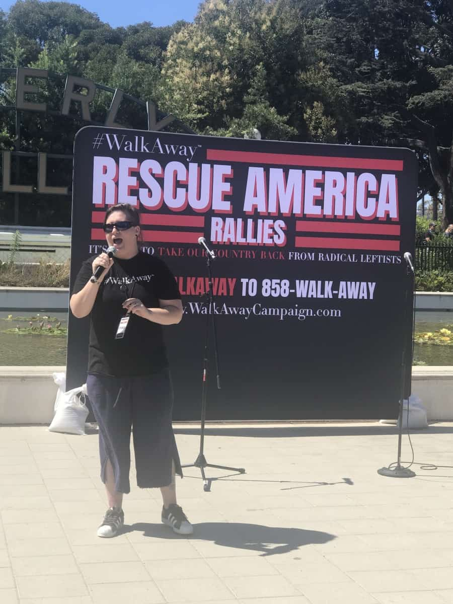 Rescue America rally, Karlyn Borysenko, Political Commentator speaks - Photo credit Nurit Greenger