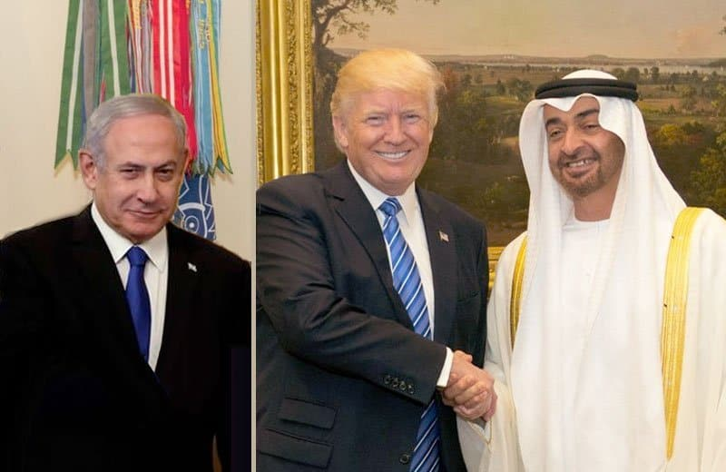 PM Netanyahu, President Trump, Mohammed bin Zayed. Image collated by NewsBlaze