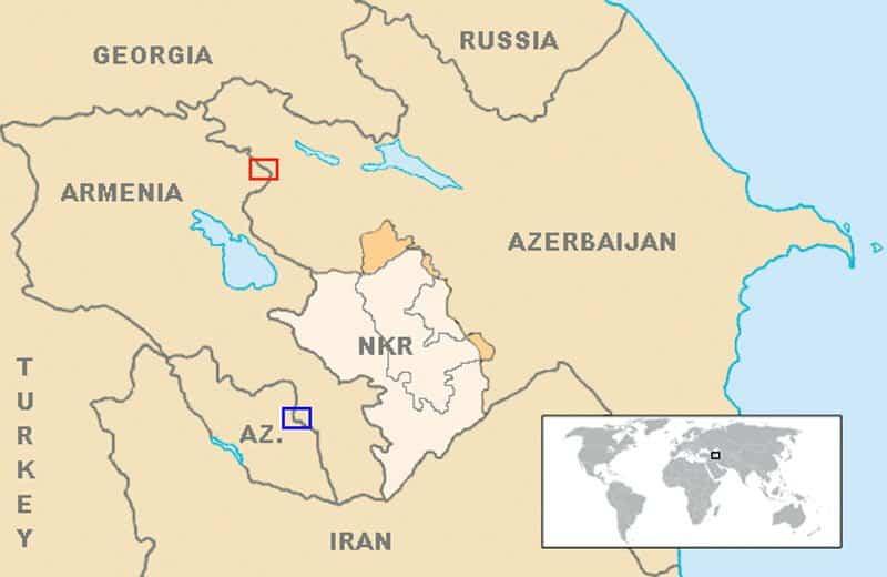 armenia azerbaijan map. Photo credit wikipedia CC0