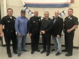 Delegation members and the men in blue-From Left-Capt. Rafael Ramirez, Benito-Benny Bernal, Chief Jorge Rodriguez, Bishop Mendez, Jim Leahy, Cpt. Rich Gabaldon - NewsBlaze Photo by Nurit Greenger