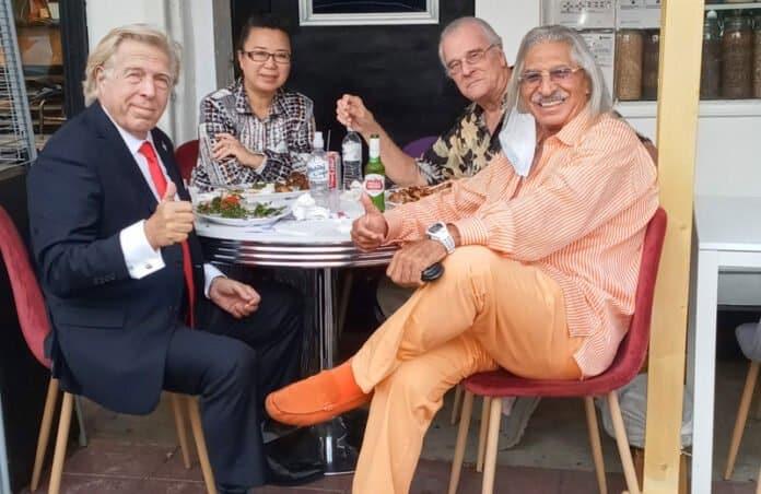 peter allman with yin jiang tom hallick and saad fathi at habibi cafe. Photo by Celebrity Scene News and NewsBlaze.