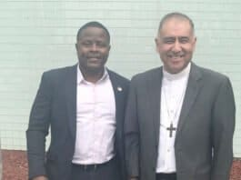 Congressional Candidate Joe Collins with Bishop Juan Carlos Mendez - Photo credit Nurit Greenger