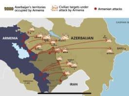 Map of missile attacks from Armenia on major cities of Azerbaijan - Photo credit Azerbaijan Consulate General Los Angeles, California