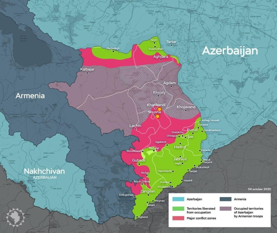 Map of the Armenia-Azerbaijan conflict thus far. Image by Rasul Hasan @rasulhasanov