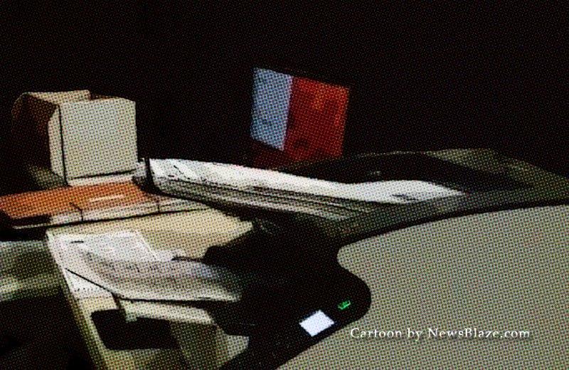 machine counting ballots. cartoon by newsblaze
