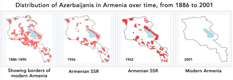 Composite map Azerbaijanis in Armenia. Public Domain maps.
