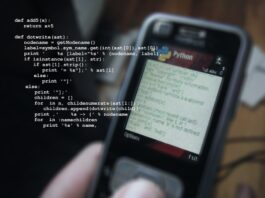 python programming on mobile phone. Image by Gerd Altmann from Pixabay