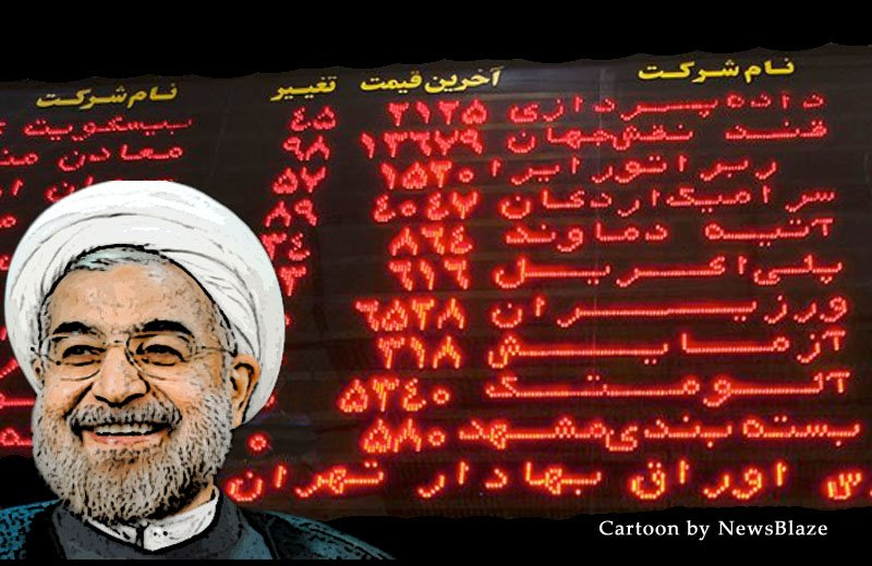 rouhani - iran stock exchange. newsblaze cartoon