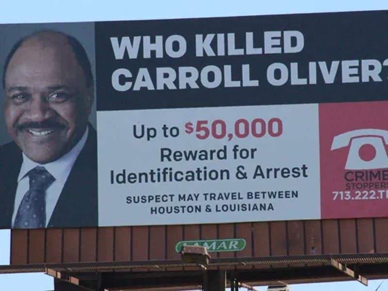 who killed carroll oliver. Houston Crime Stoppers image.