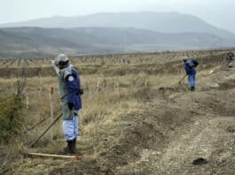 Azerbaijan clears mines from areas freed in Karabakh - photo credit Azertac via Azerbaijan Consul General.
