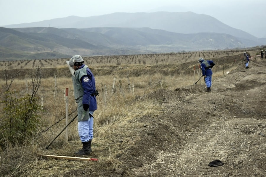 Azerbaijan clears mines set by Armenia from areas freed in Karabakh - photo credit Azertac
