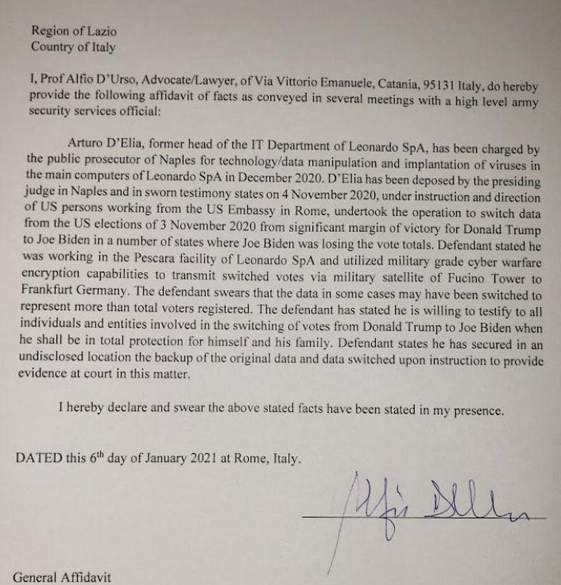 italy affidavit