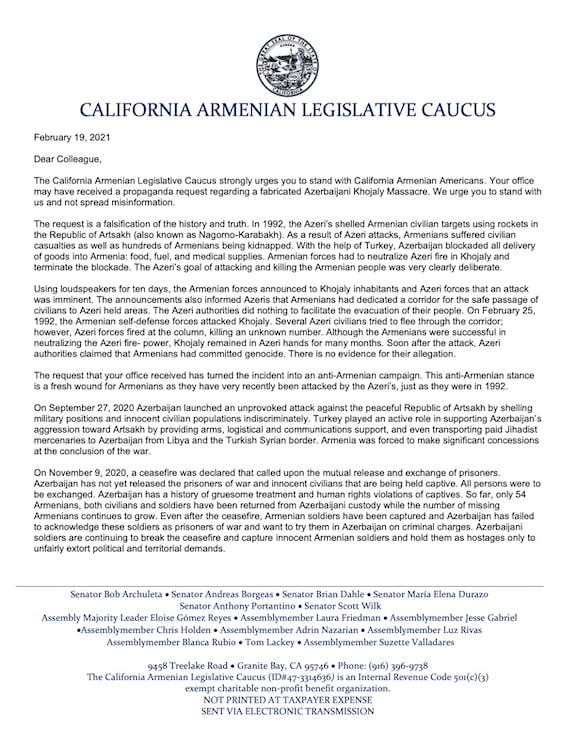 California Amenian Caucus Letter