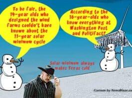 Solar minimum makes texas cold every 11 years. Cartoon by NewsBlaze.