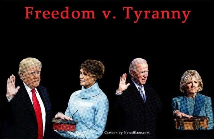 freedom v tyranny. Cartoon by NewsBlaze