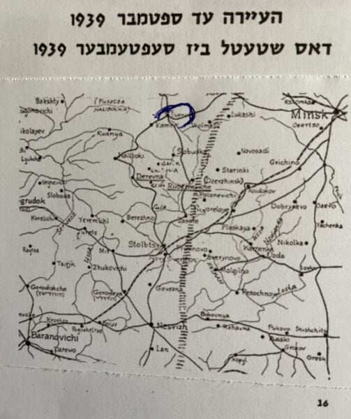 shtetel Ivenets (circled) - map - Photo Nurit Greenger