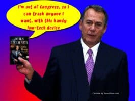 John Boehner low tech device. Cartoon by NewsBlaze.com