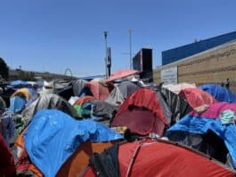 Migrant tent town in Tijuana, Mexico, on the border with USA - Photo credit Nurit Greenger