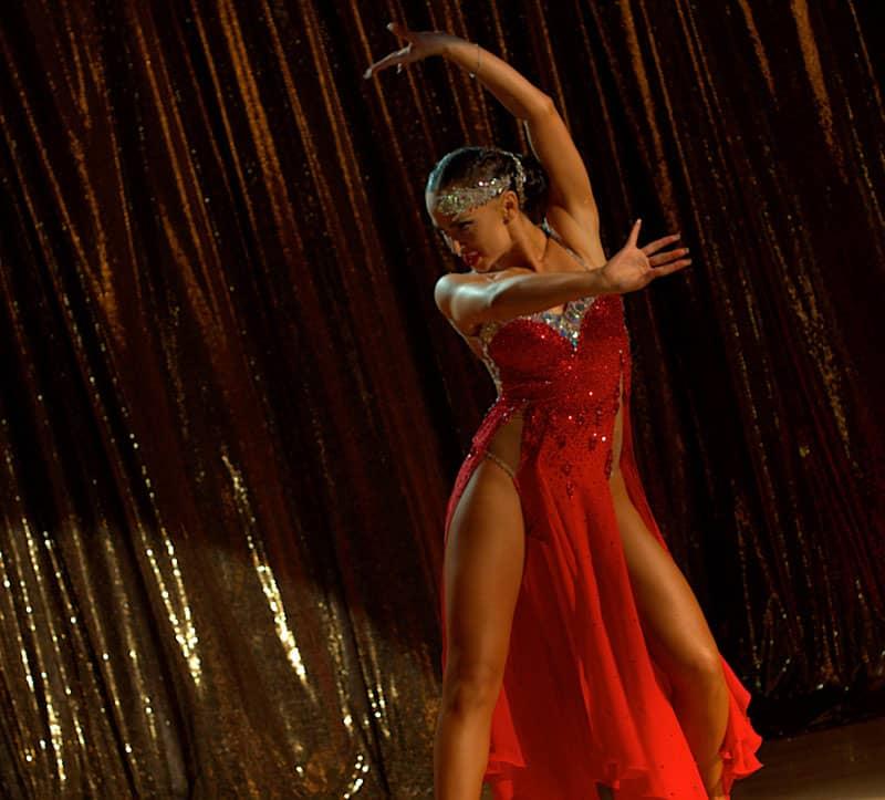 Karina Smirnoff in Tango Shalom still on stage red dress