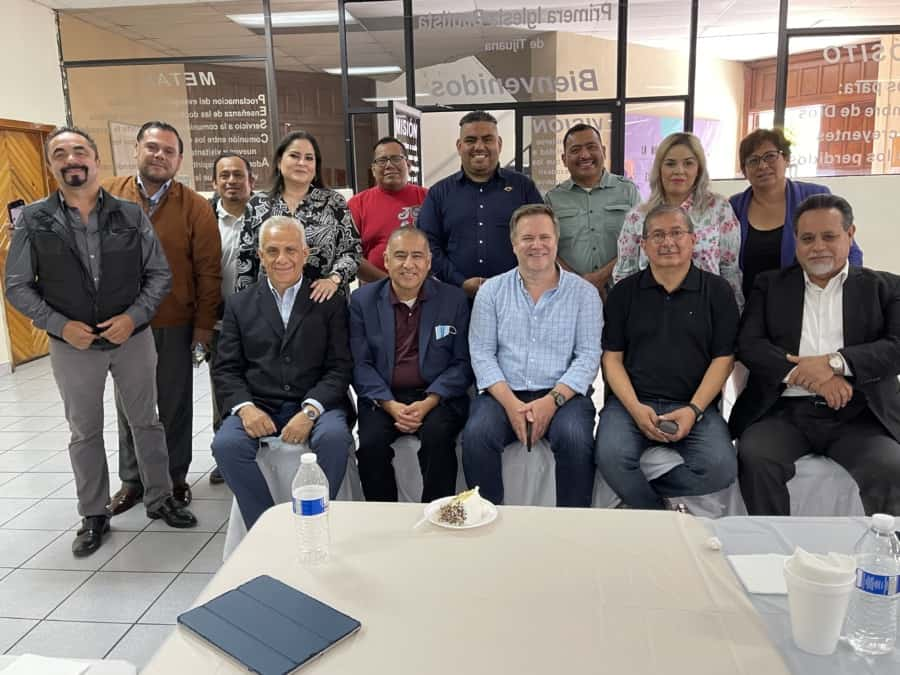 Border Migration Crisis. Clergy and politicians meeting participants: front row L-Diego Beristain, candidate for Mexico congress, Bishop Juan Carlos Mendez, Attorney John Pierce, Pastor Gabriel Araya - Photo credit Nurit Greenger