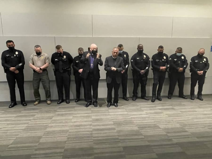 National Day of Prayer police and sheriff leaders. Photo by Nurit Greenger.